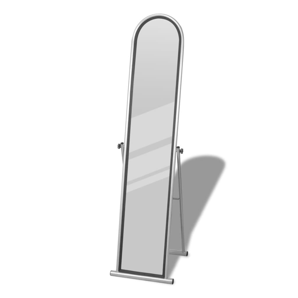 Volně stojící podlahové obdélníkové zrcadlo šedé