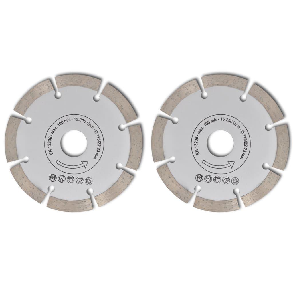Disc diamantat pentru fierăstrău circular 115 mm 2 buc imagine vidaxl.ro