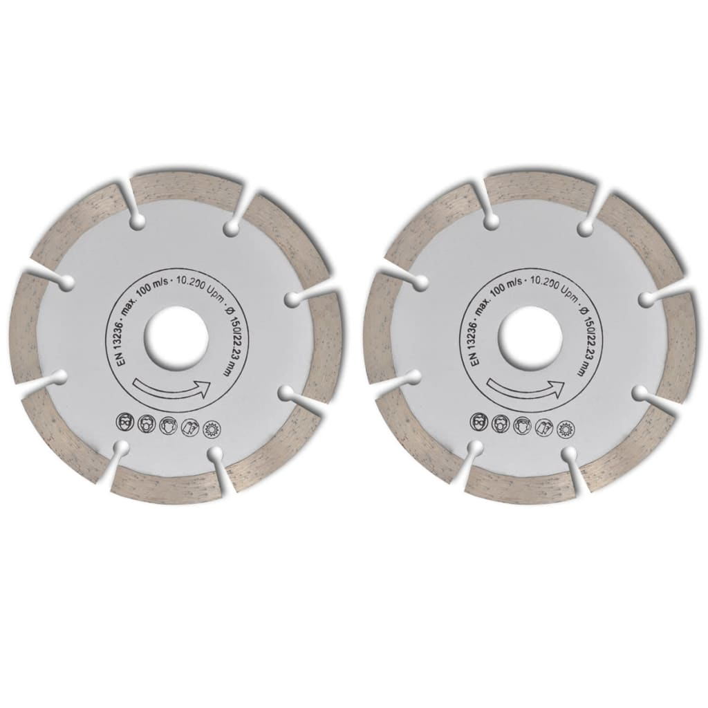 Disc diamantat pentru fierăstrău circular 150 mm 2 buc imagine vidaxl.ro