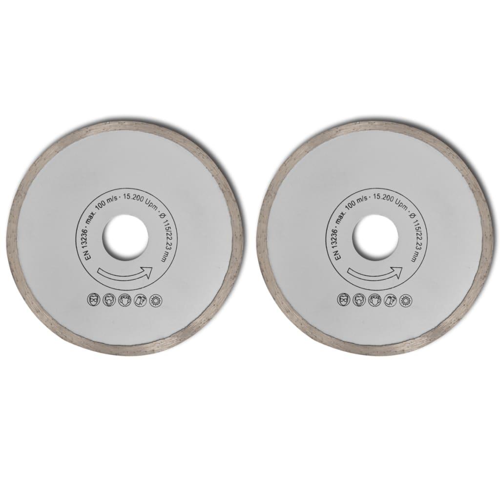 Diamantové řezné kotouče - 2 ks - 115 mm - plné