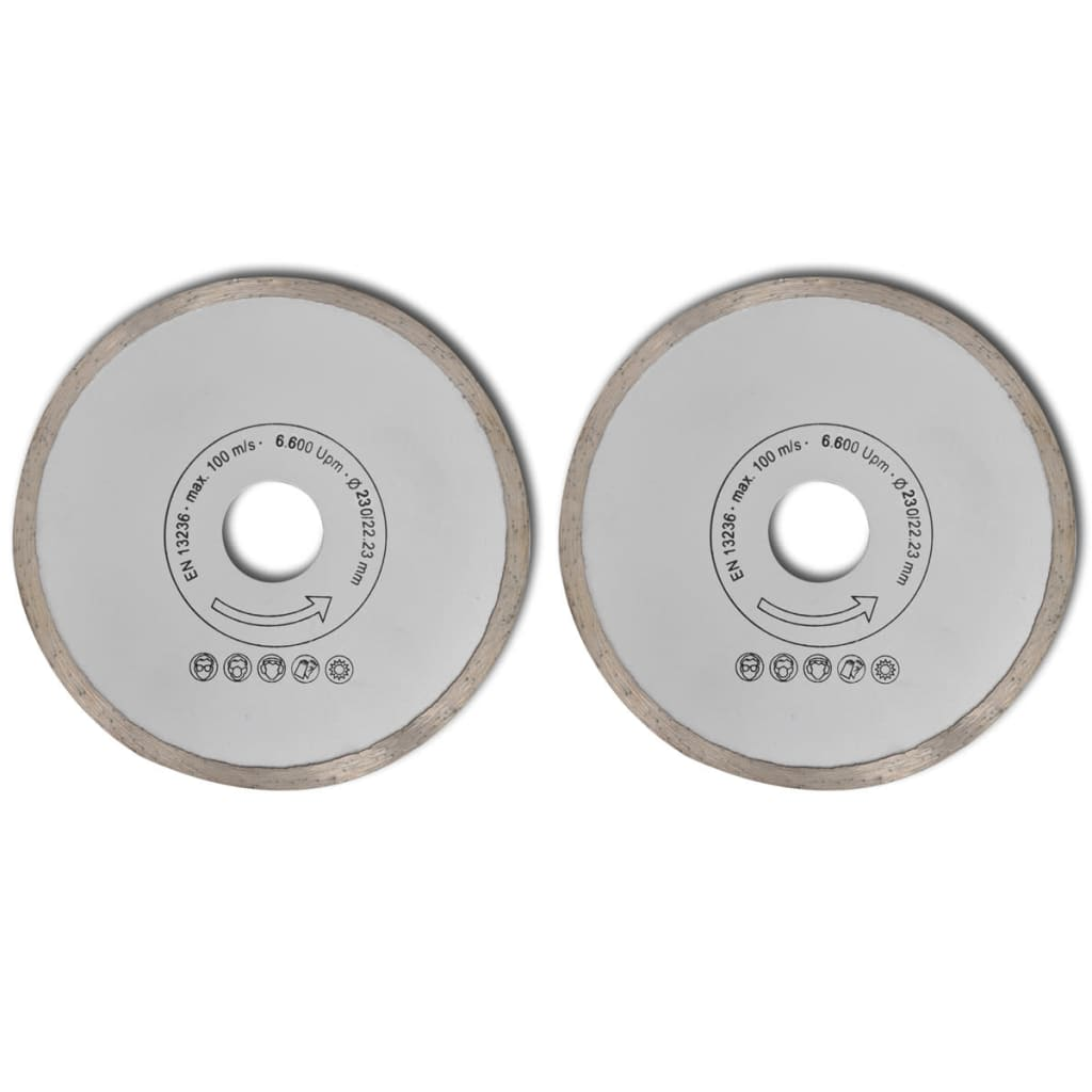 Disc diamantat pentru fierăstrău circular margine uniformă 230 mm 2buc vidaxl.ro