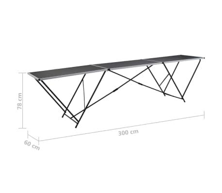 vidaXL Klijavimo stalas, sulankst., MDF ir aliuminis, 300x60x78cm[11/11]