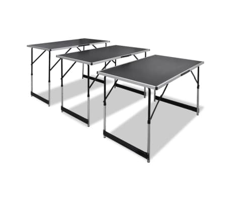 vidaXL Pasting Table 3 pcs Foldable Height Adjustable