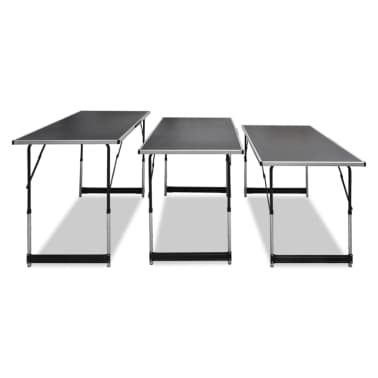 vidaXL Pasting Table 3 pcs Foldable Height Adjustable[3/7]