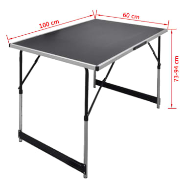 vidaXL Pasting Table 3 pcs Foldable Height Adjustable[7/7]
