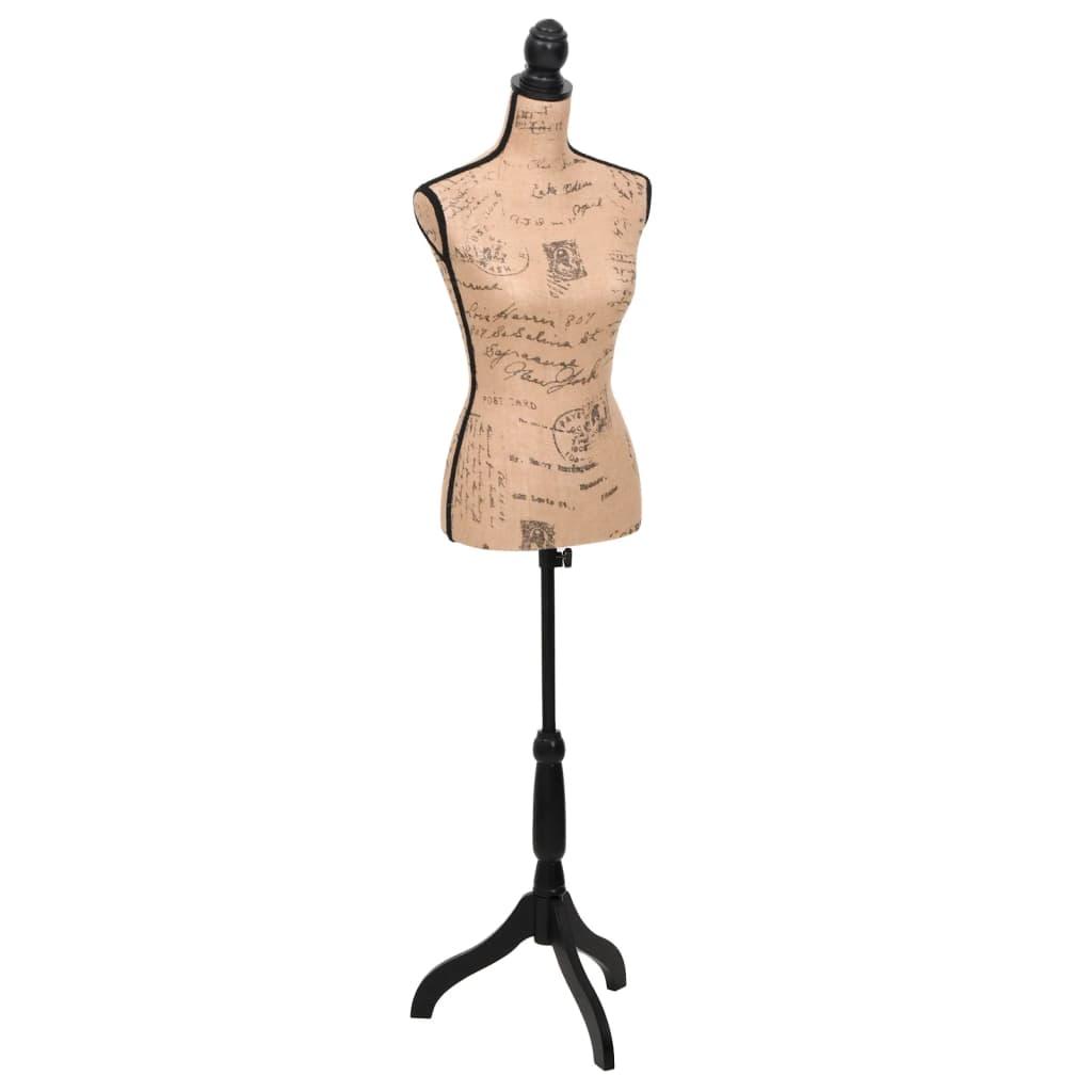 vida-xl-ladies-bust-display-brown-black-jute-female-mannequin