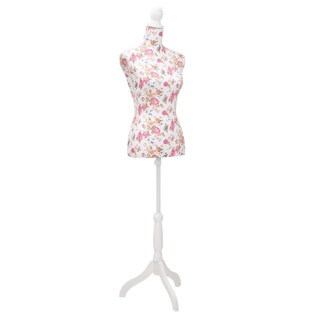 vidaXL Bust pentru dame, manechin, alb cu trandafiri, bumbac poza 2021 vidaXL
