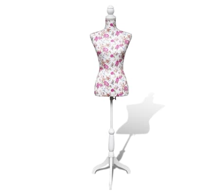 Ladies Bust Display Mannequin Cotton White With Rose[1/6]