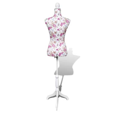 Ladies Bust Display Mannequin Cotton White With Rose[6/6]