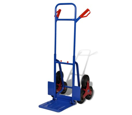 vidaXL Folding Sack Truck with 6 Wheels Blue