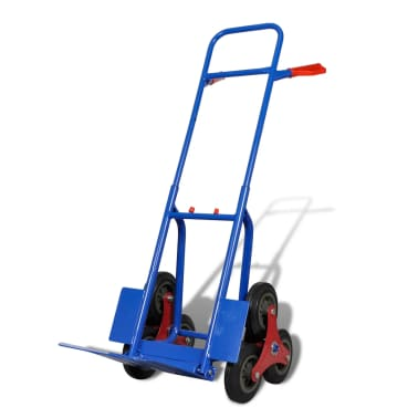 vidaXL Folding Sack Truck with 6 Wheels Blue[2/4]