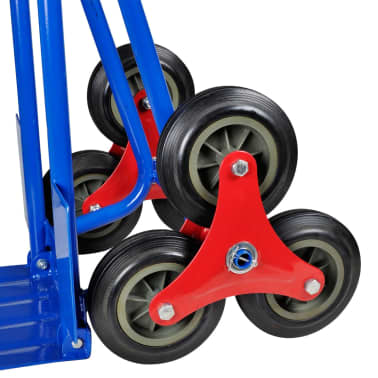 vidaXL Folding Sack Truck with 6 Wheels Blue[4/4]