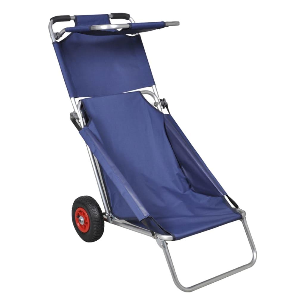 vidaXL Cărucior de plajă cu roți, portabil, pliabil, albastru vidaxl.ro