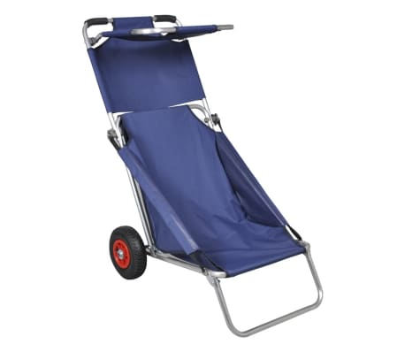 vidaXL Beach Trolley with Wheels Portable Foldable Blue[1/6]