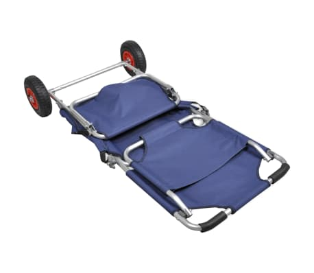 vidaXL Beach Trolley with Wheels Portable Foldable Blue[3/6]