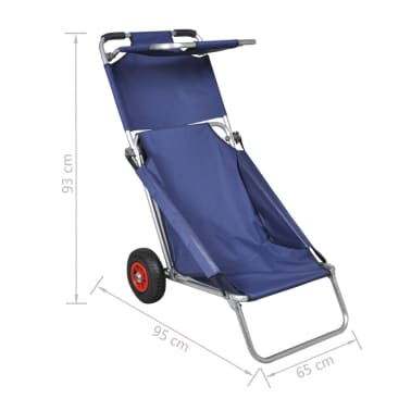 vidaXL Beach Trolley with Wheels Portable Foldable Blue[6/6]