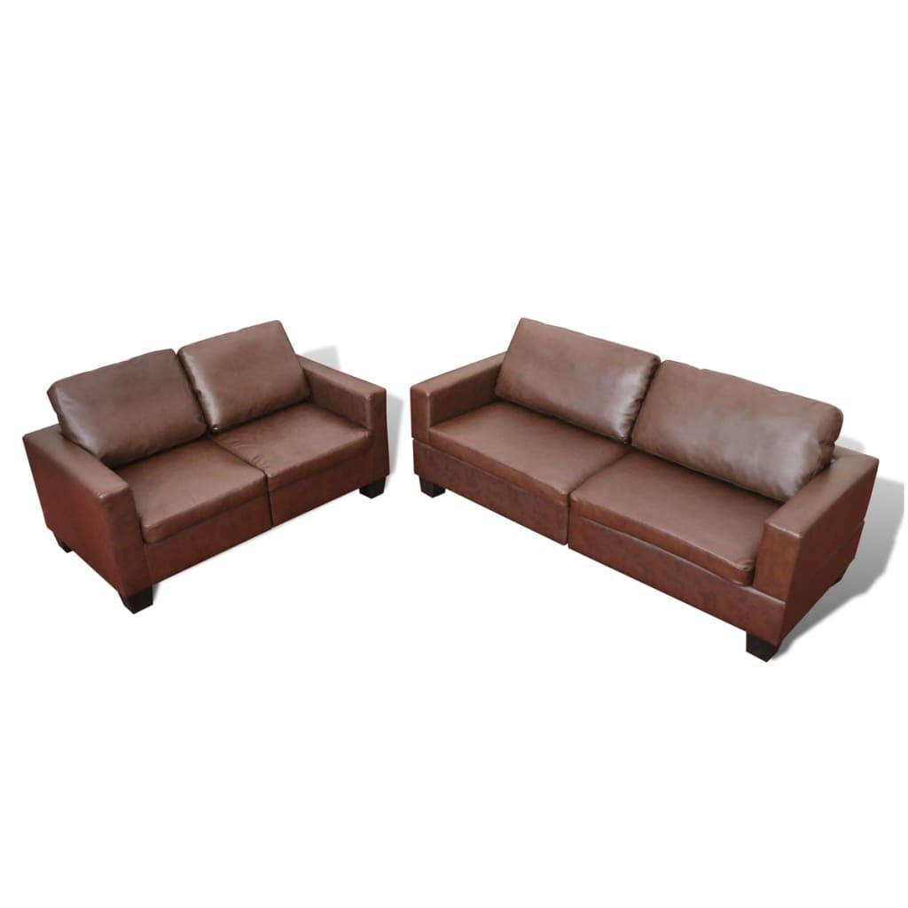 99240553 Sofa-Set 2-Sitzer und 3-Sitzer Leder Braun