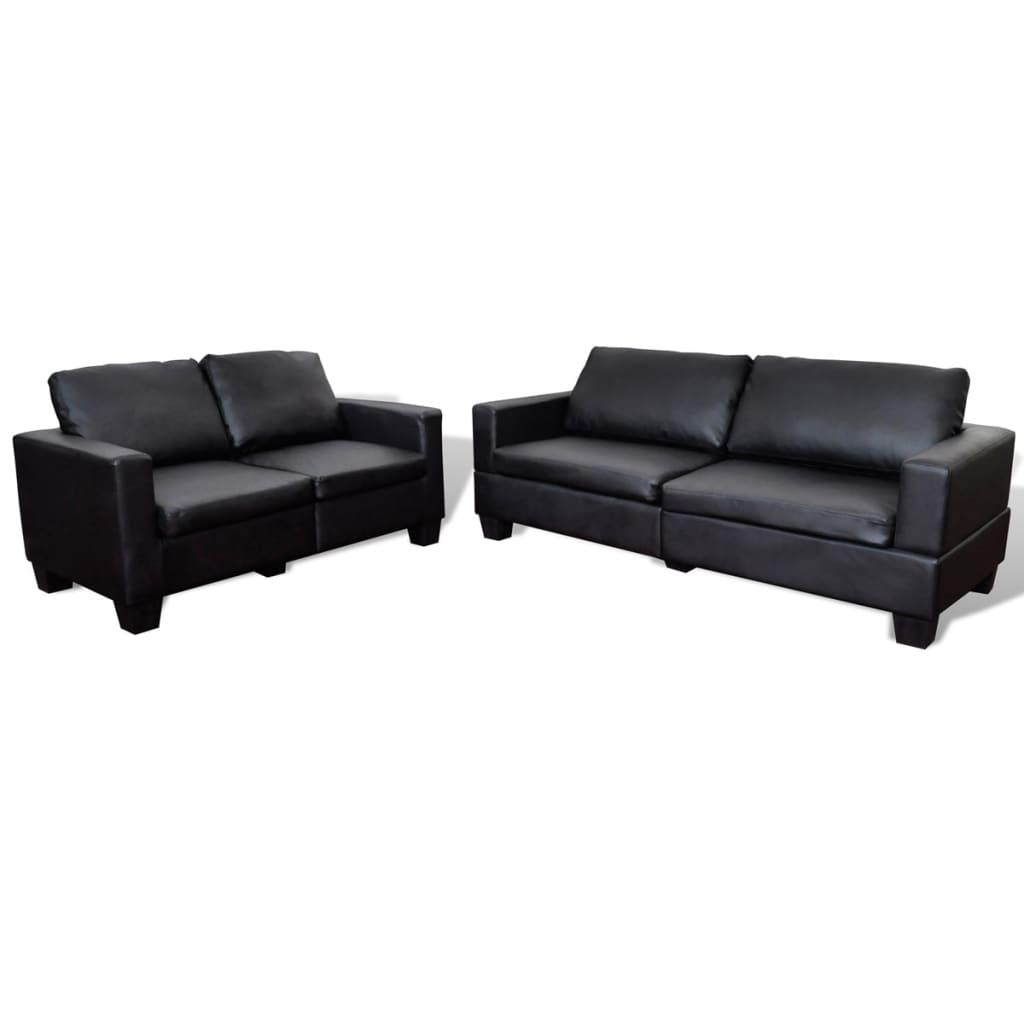 99240554 Sofa-Set 2-Sitzer und 3-Sitzer Leder Schwarz