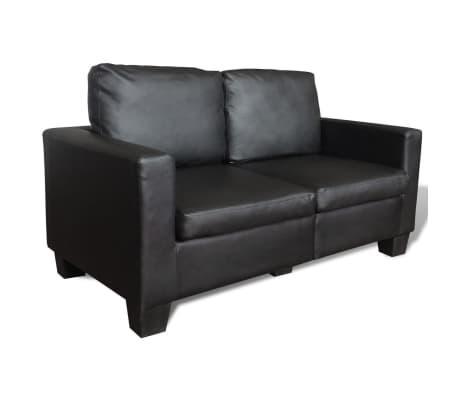 Vidaxl divano componibile a 2 e 3 posti in pelle nero - Divano in pelle nero ...