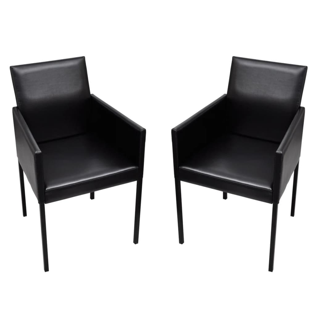 Černé jídelní židle s područkami, moderní design, sada 2 ks