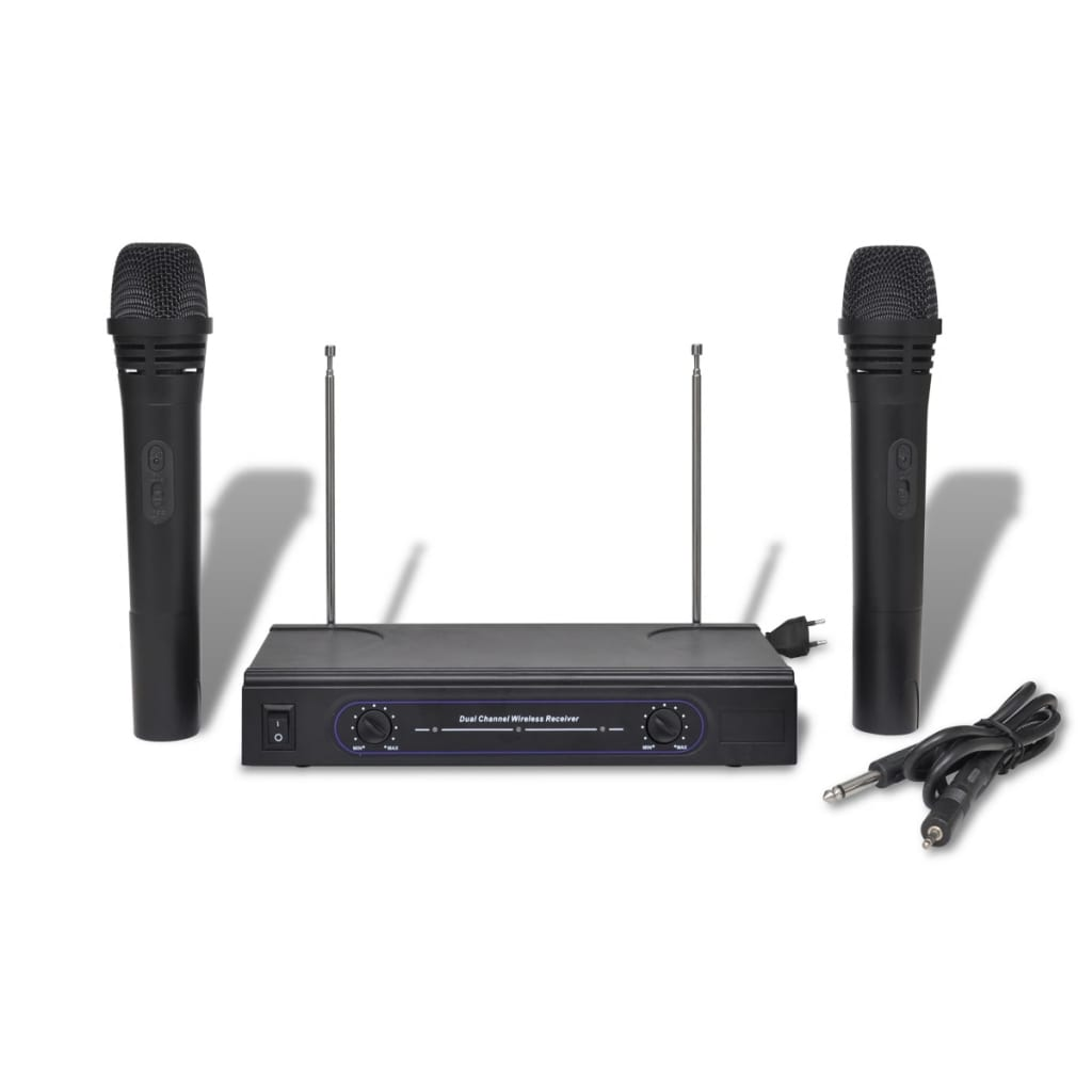 Set 2 microfoane VHF wireless cu receiver vidaxl.ro