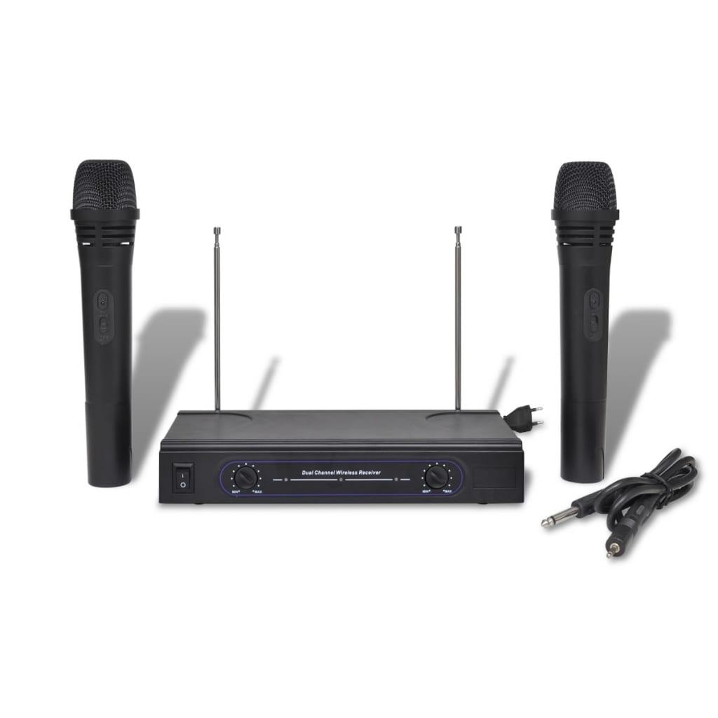 Set 2 microfoane VHF wireless cu receiver imagine vidaxl.ro