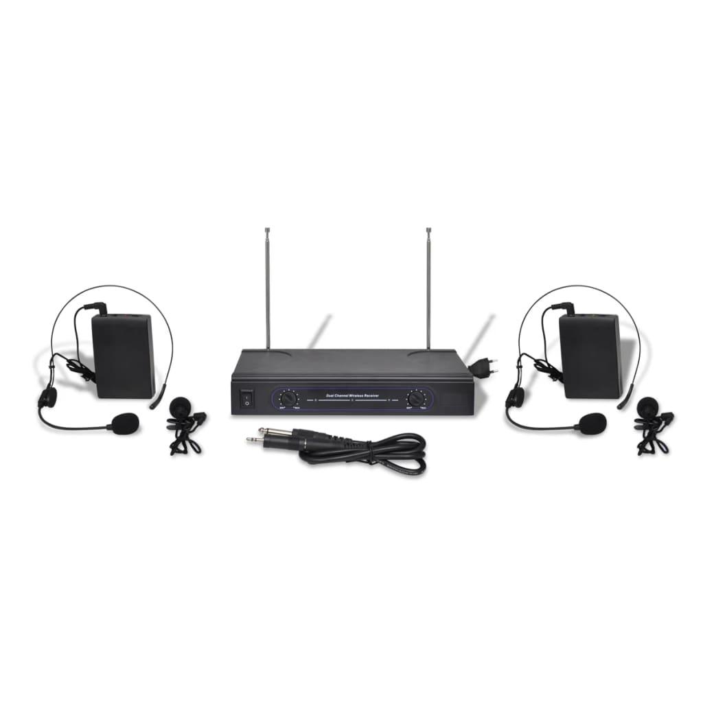 Set VHS 2 canale x 2 căști cu microfon wireless poza 2021 vidaXL