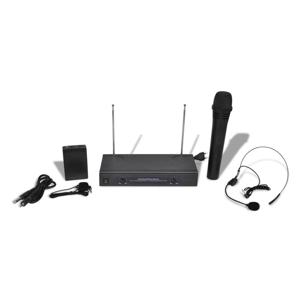 Afbeelding van vidaXL Set draadloze microfoon, koptelefoon en VHF ontvanger