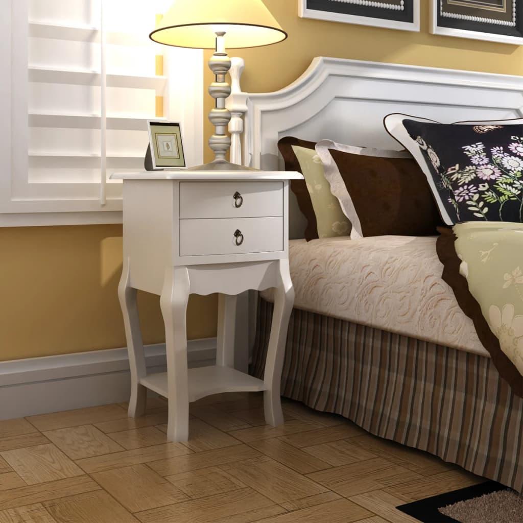 vidaXL Noční stolek se 2 zásuvkami bílý