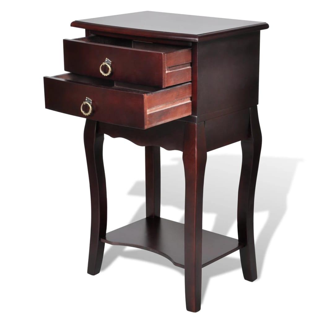 vidaXL Nachtkastje met 2 lades bruin