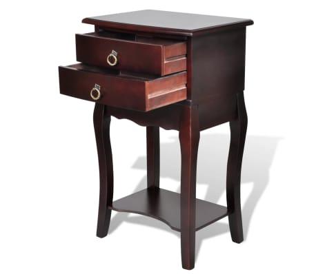 vidaXL Naktinis staliukas su 2 stalčiais, rudas[2/6]