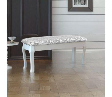 Minkštas suoliukas kosmetiniam staliukui, dvivietis, baltas, 110 cm[2/4]