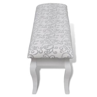 Minkštas suoliukas kosmetiniam staliukui, dvivietis, baltas, 110 cm[3/4]