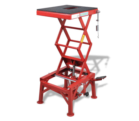 Red Motorcycle Lift 135 kg with Foot Pad, Locking Bar, Release Valve[1/4]