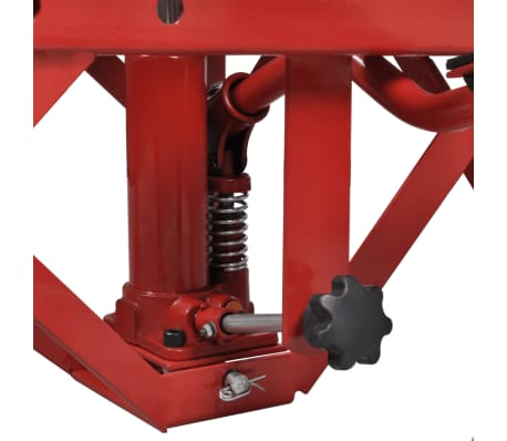 Red Motorcycle Lift 135 kg with Foot Pad, Locking Bar, Release Valve[3/4]