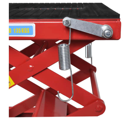 Red Motorcycle Lift 135 kg with Foot Pad, Locking Bar, Release Valve[4/4]