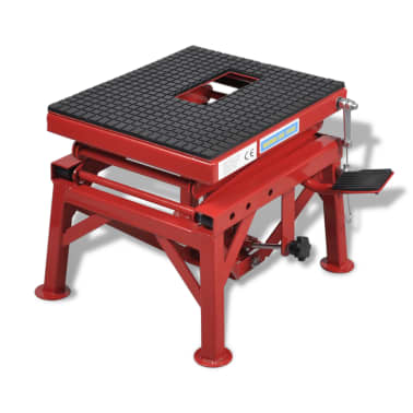 Red Motorcycle Lift 135 kg with Foot Pad, Locking Bar, Release Valve[2/4]