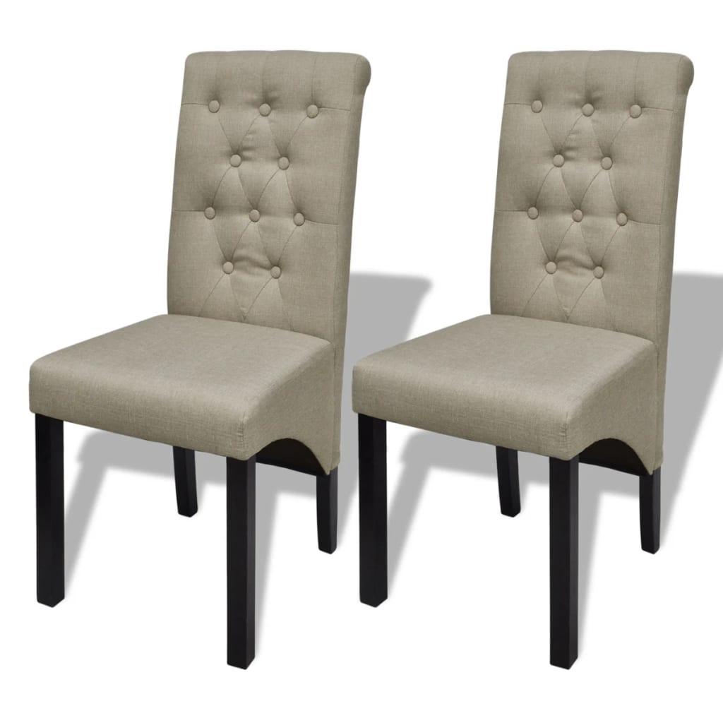 vidaXL Καρέκλες Τραπεζαρίας 2 τεμ. Μπεζ Υφασμάτινες