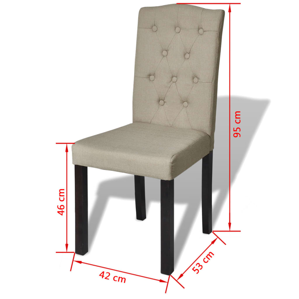 Dettagli su Sedie da Pranzo cucina rivestite in Tessuto Beige Set 2 pz  design elegante
