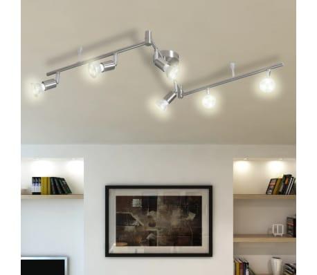 6 led strahler deckenleuchte nickel deckenleuchte deckenlampe g nstig kaufen. Black Bedroom Furniture Sets. Home Design Ideas