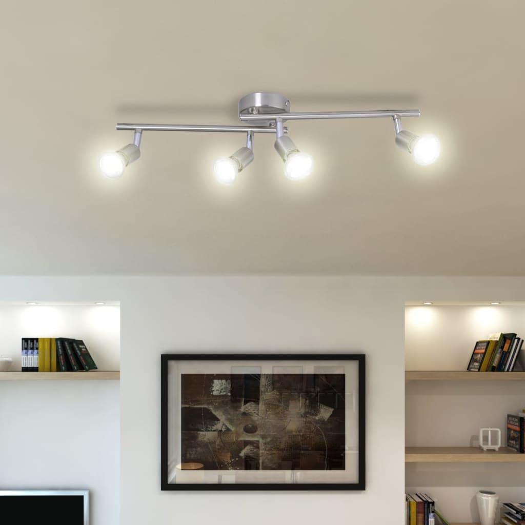 Stropní osvětlení 4 halogenové bodovky broušená ocel