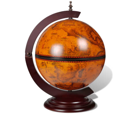vidaXL Tabletop Globe Bar Wine Stand Wood[2/5]