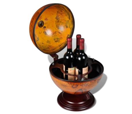 vidaXL Tabletop Globe Bar Wine Stand Wood[4/5]