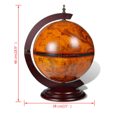 vidaXL Tabletop Globe Bar Wine Stand Wood[5/5]
