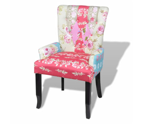 vidaXL French Chair with Patchwork Design Fabric