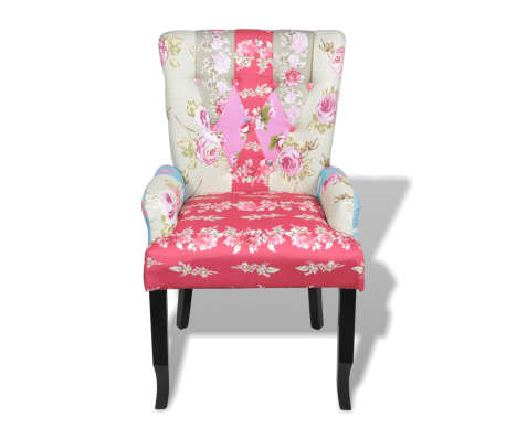 vidaXL French Chair with Patchwork Design Fabric[2/6]