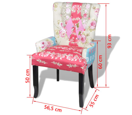 vidaXL French Chair with Patchwork Design Fabric[6/6]