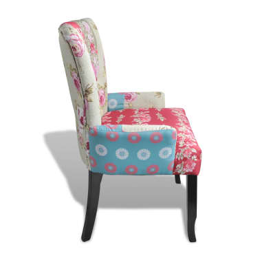 vidaXL French Chair with Patchwork Design Fabric[3/6]