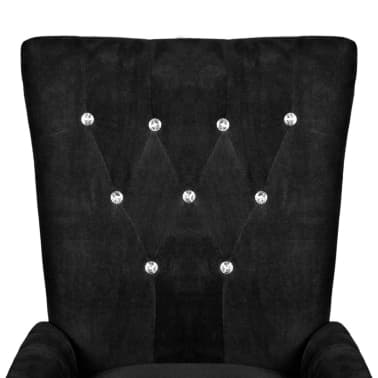 vidaXL Armchair with Wooden Frame Velvet Black[3/6]