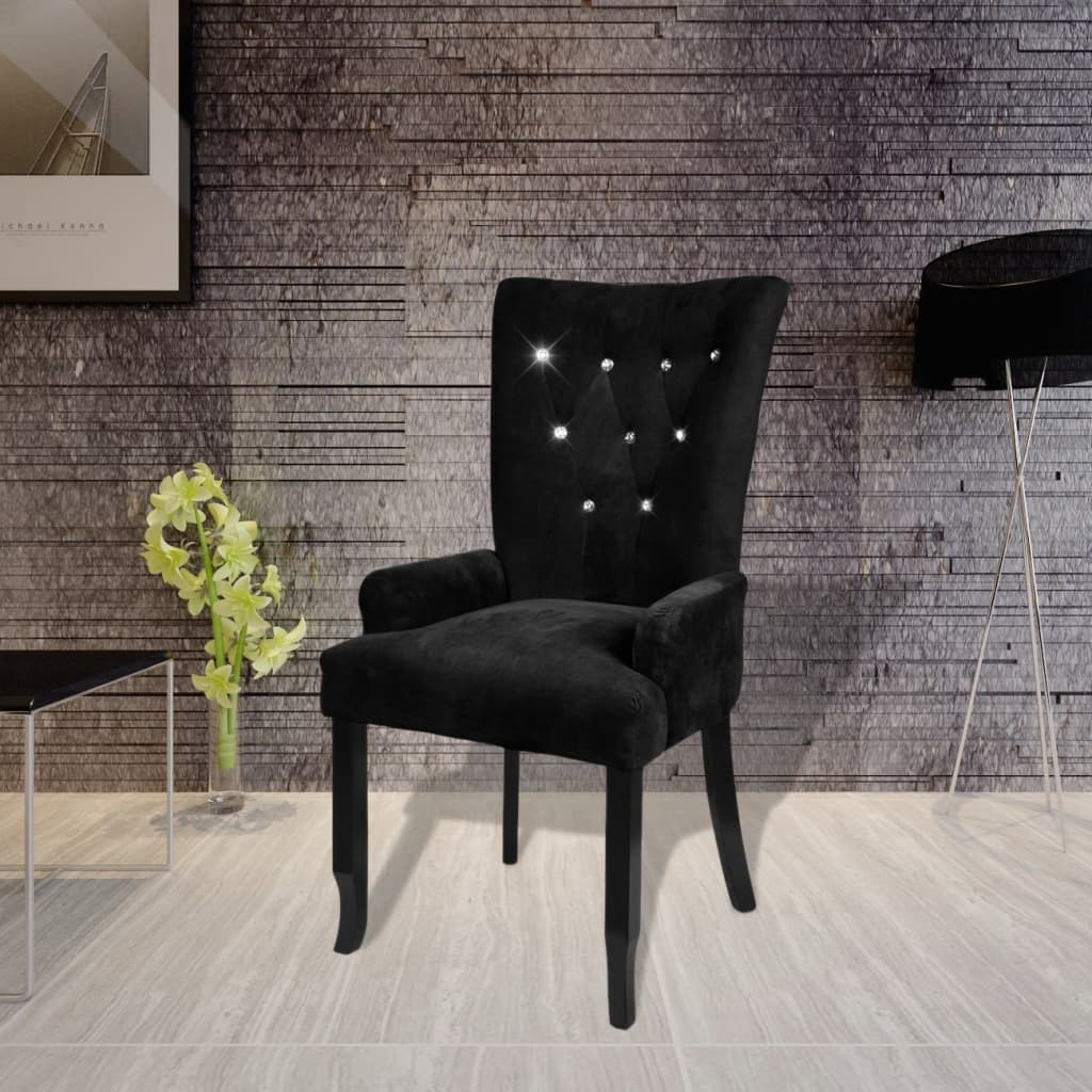 vidaXL Fotel, czarny, aksamit